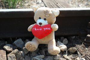 Teddy auf den Schienen